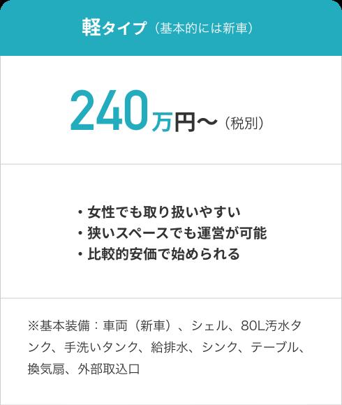 軽タイプ(基本的には新車)240万円~(税別)